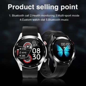 Relógio inteligente E1-2 masculino; chamada bluetooth personalizado dial; tela de toque completa; waterproof.
