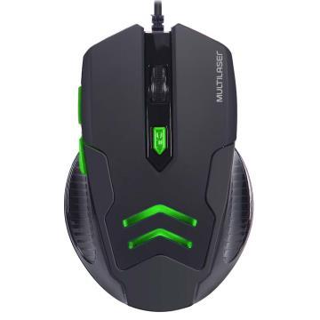 Mouse Gamer Multilaser 3200DPI 6 Botões Preto/Verde com Mouse Pad