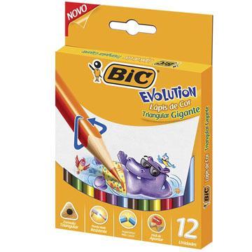 Lápis de Cor 12 cores Bic Evolution Triangular Gigante