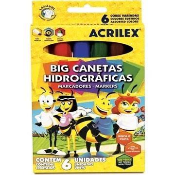 Caneta Hidrográfica Acrilex 06 cores Abelhinha