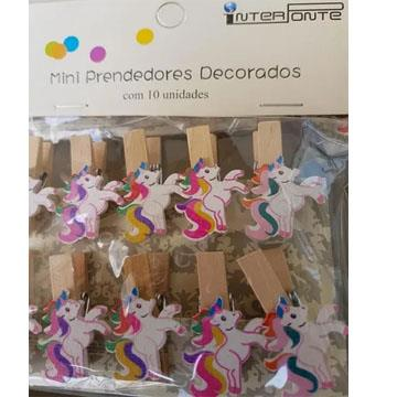 Kit 10 Mini Prendedores Decorados de Madeira Unicórneo