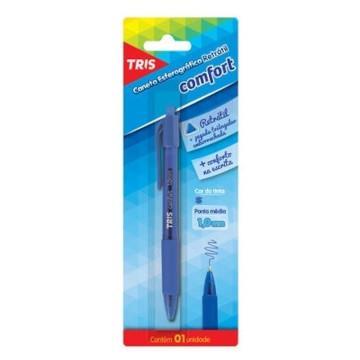 Caneta Esferografica Tris Comfort Retrátil Triangular 1.0 Mm Azul 684994