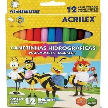Caneta Hidrográfica Acrilex 12 cores Abelhinha
