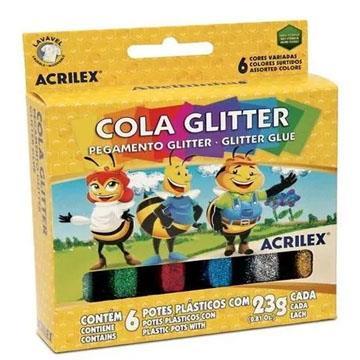 Cola Glitter Abelhinhas Acrilex 6 potes 23g