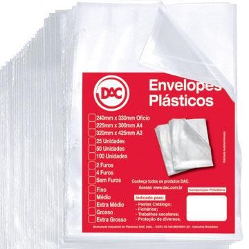 Envelope Plástico Ofício A4 Fino para pasta sem furos c/50