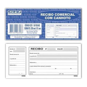 Recibo comercial com canhoto São Domingos 6328 - 200x91 - 50 folhas