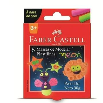 Massa de Modelar 6 cores Neon  Faber Castell 90g