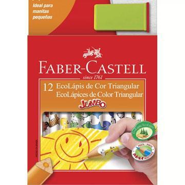 Ecolápis de Cor 12 cores triangular Faber-Castell  Jumbo + 1 apontador