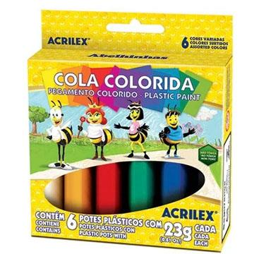 Cola Colorida Abelhinhas Acrilex 6 potes 23g