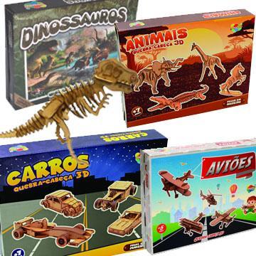 Quebra-cabeças 3D de madeira Aquarela (carros, aviões, animais ou dinossauros)