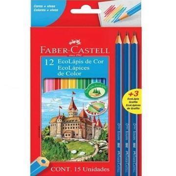 Ecolápis de Cor 12 cores Faber-Castell  + 3 ecolápis