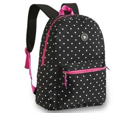 Mochila de Costas Cliq Style preta, bolinhas brancas e detalhes em rosa