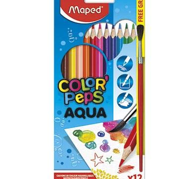 Lápis de Cor 12 cores Maped Aqua Color Peps + 1 Pincel Aquarela