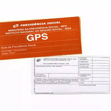 Guia da Previdência Social - GPS 2 folhas carbonadas 187x108 bloco 12 folhas