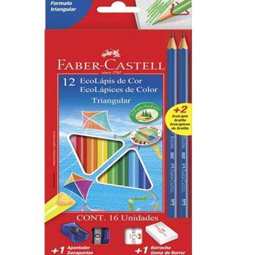 Ecolápis de Cor 12 cores Faber-Castell  + 2 ecolápis + 1 apontador + 1 borracha