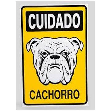 """Placa de Sinalização Acesso """"Cuidado Cachorro"""" Poliestireno PSAI 20x29"""