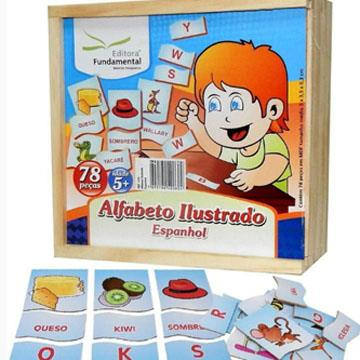 Jogo pedagógico Alfabeto Ilustrado Espanhol Editora Fundamental 78 peças