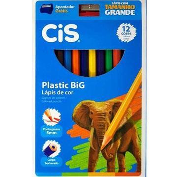Lápis de cor 12 cores 4mm sextavado CIS Plastic Big + 1 apontador