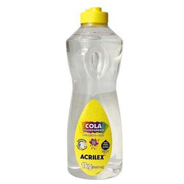 Cola Transparente Acrilex 1kg Não tóxica - ideal para slime