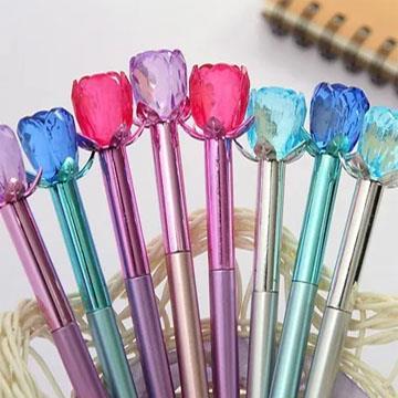Caneta Flor Cristal (Rosa, Lilás, Azul ou Prata)