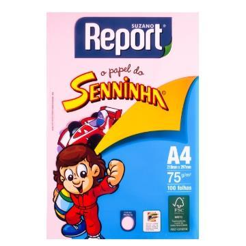 Papel Sulfite Colorido Rosa Senninha Report Suzano 75g  210x297mm - 100fls