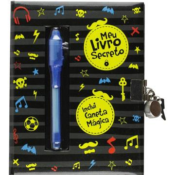 Diário Meu Livro Secreto com cadeado  e caneta Vale das Letras