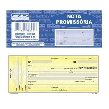 Nota Promissória Bloco Pequeno 145x65 50 folhas São Domingos