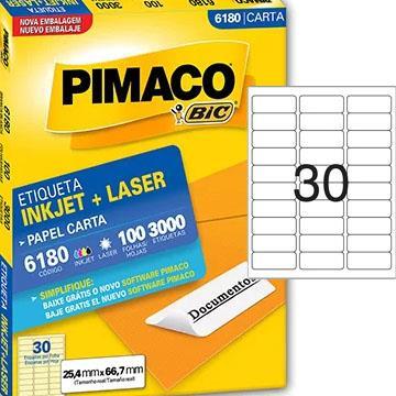 Etiqueta Pimaco 6180 30 etiquetas p/folha  100 folhas 254x667