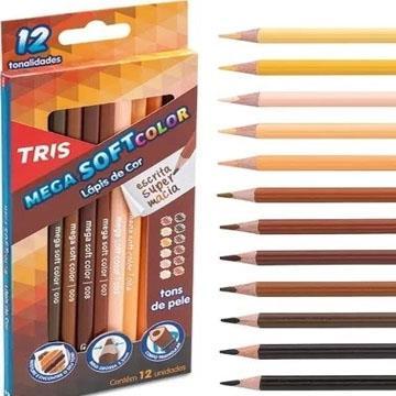 Lápis de Cor 12 cores triangular Tris Mega Soft Color  Tons de Pele