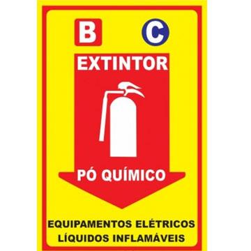 """Placa de Sinalização Acesso """"Extintor Pó Químico"""" Poliestireno PSAI 15x30"""
