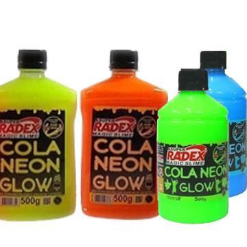 Cola Neon Glow Radex 500g (ideal para slime neon) - Verde, Azul, Amarela ou Laranja (un)