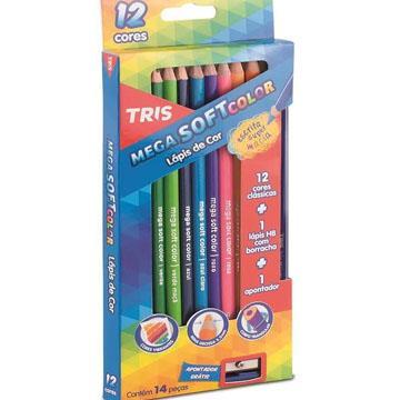 Lápis de Cor 12 cores Tris Mega Soft Color  + 1 lápis + 1 apontador