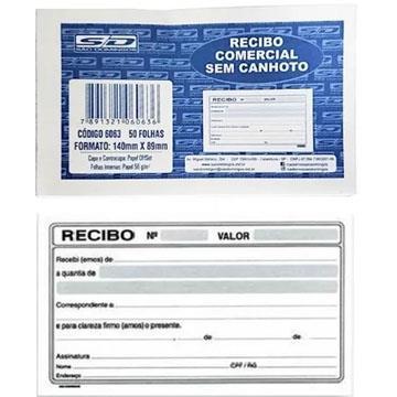 Recibo comercial sem canhoto São Domingos 6328 - 140x89 - 50 folhas