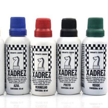 Corante Líquido Xadrez 50ml (Vermelho, Preto, Azul ou Verde)