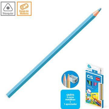 Lápis de cor 12 cores 4mm triangular CIS Nataraj + 1 apontador + 2 lápis metalizados