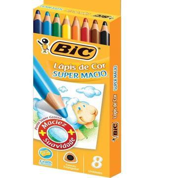 Lápis de Cor 08 cores Bic Super Macio ponta super grossa + 1 apontador