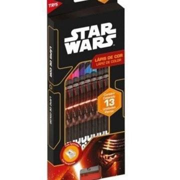 Lápis de Cor 12 cores + 1 apontador Tris Star Wars