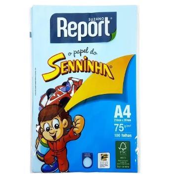 Papel Sulfite Colorido Azul Senninha Report Suzano 75g  210x297mm - 100fls