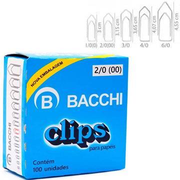 Clips papa papéis Bacchi 2/0 100 unidades