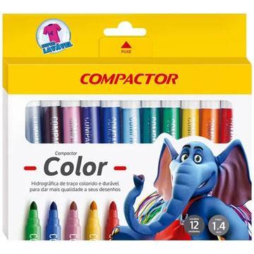 Caneta Hidrográfica Compactor Color 12 cores 01 a 04mm