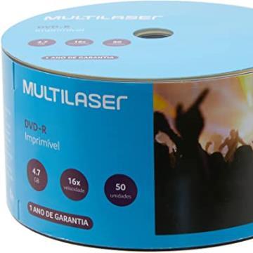 Dvd -r gravável 4.7gb 120min 8x printable DV052 Multilaser PT 50 UM