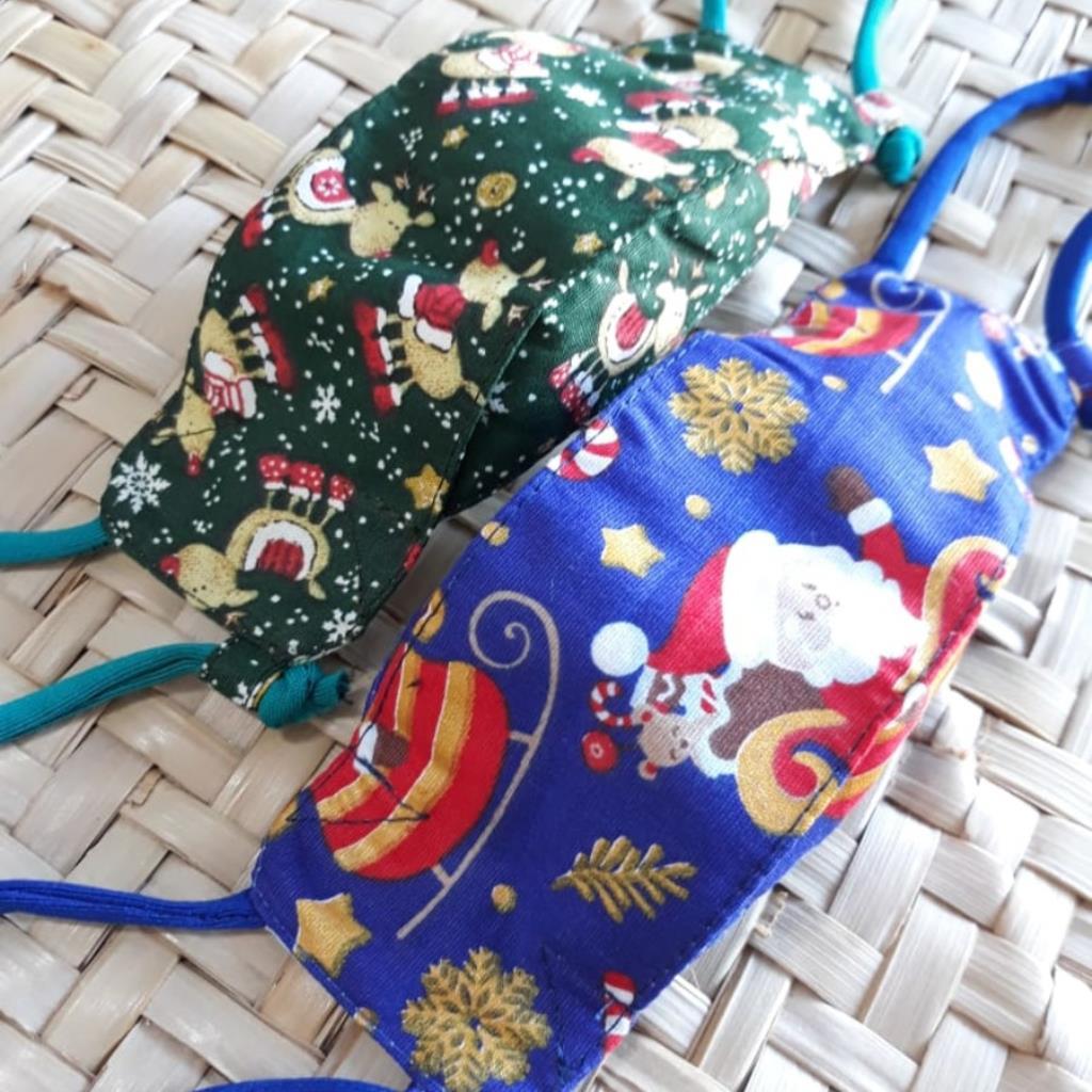 Máscara 3D infantil kit 2 unidades: Natal