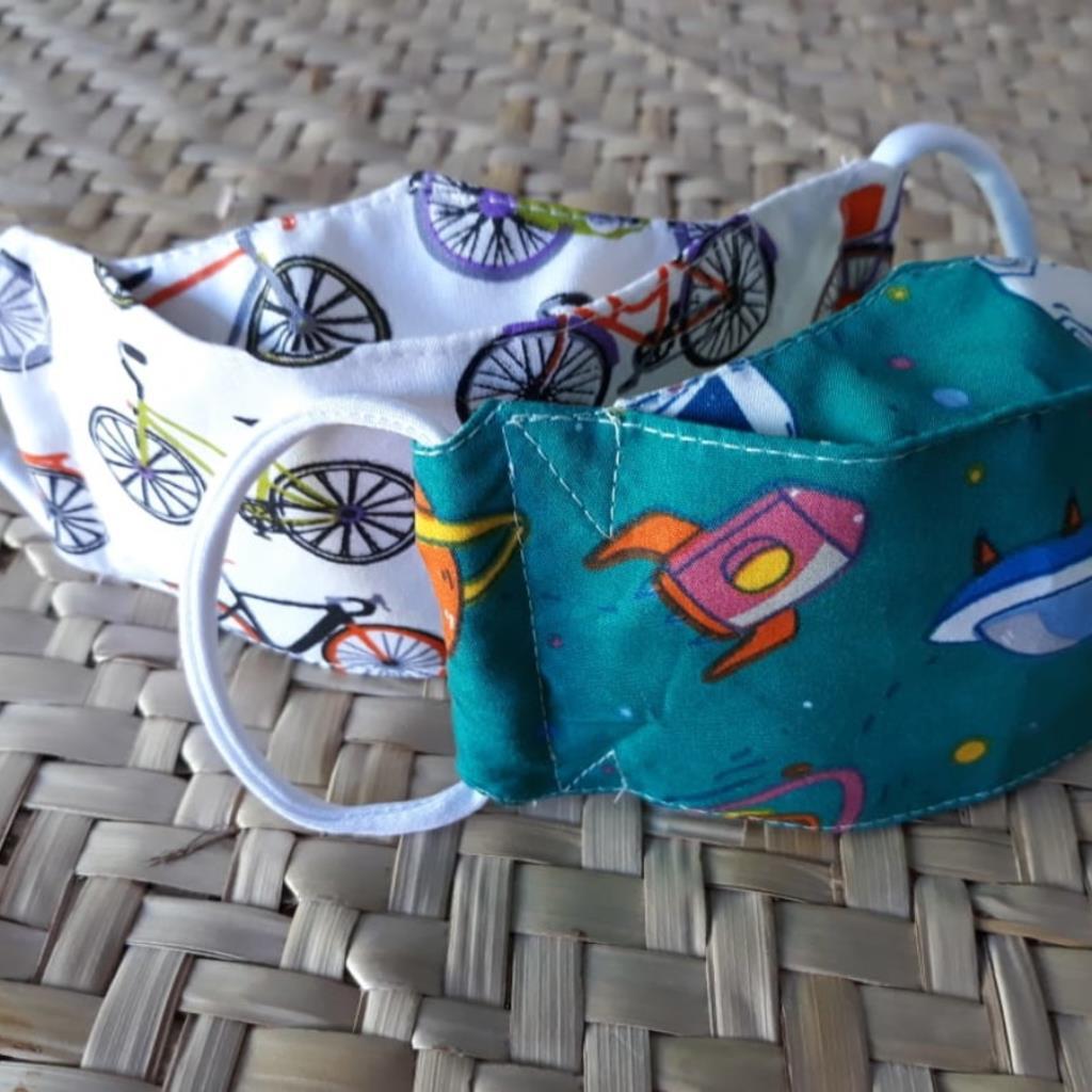 Kit Máscara 3D infantil, tripla, ajustável: astronauta, bicicleta