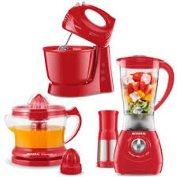 Conjunto Especial Mondial Gourmet Red II 220V (Espremedor Premium+Batedeira Power Prática Red+Liquidificador Power Red Filter)