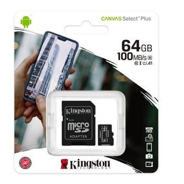 Cartão de Memória SD Kingston Canvas Select Plus Class 10UHS-I 64GB Micro + Adaptador - SDCS2/64GB