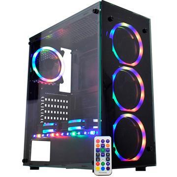 Gabinete Gamer Micro ATX/ATX/ITX S/ Fonte Atlantis Sync CG-05N9 Preto/RGB K-Mex