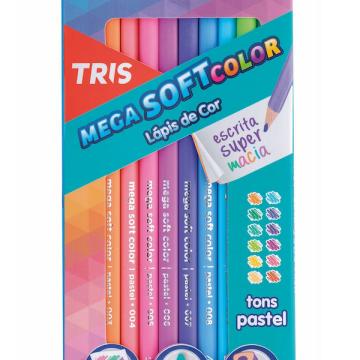 Lápis de Cor Pastel Tris Mega Soft 12 Cores
