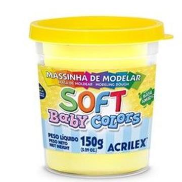 Massa de modelar Amarela - Acrilex Soft - Baby Colors - 150g