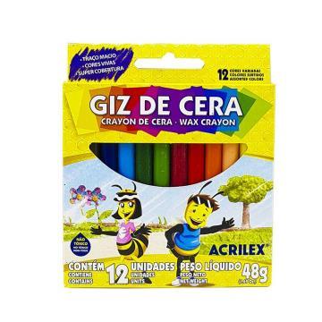 Mini Giz de Cera Acrilex com 12 cores