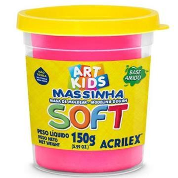 Massa de modelar Rosa - Acrilex  Soft - Art Kids - 150g